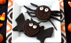 no-bake bat and spider cookies