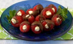 Chocolate Covered Stuffed Raspberries