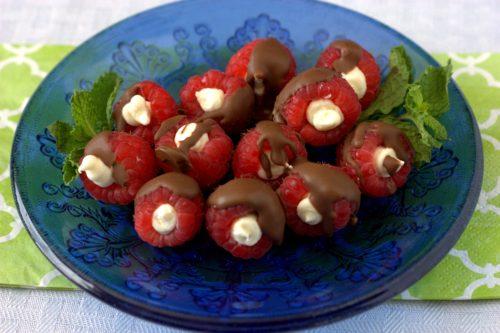 Chocolate Covered Stuffed Raspberries